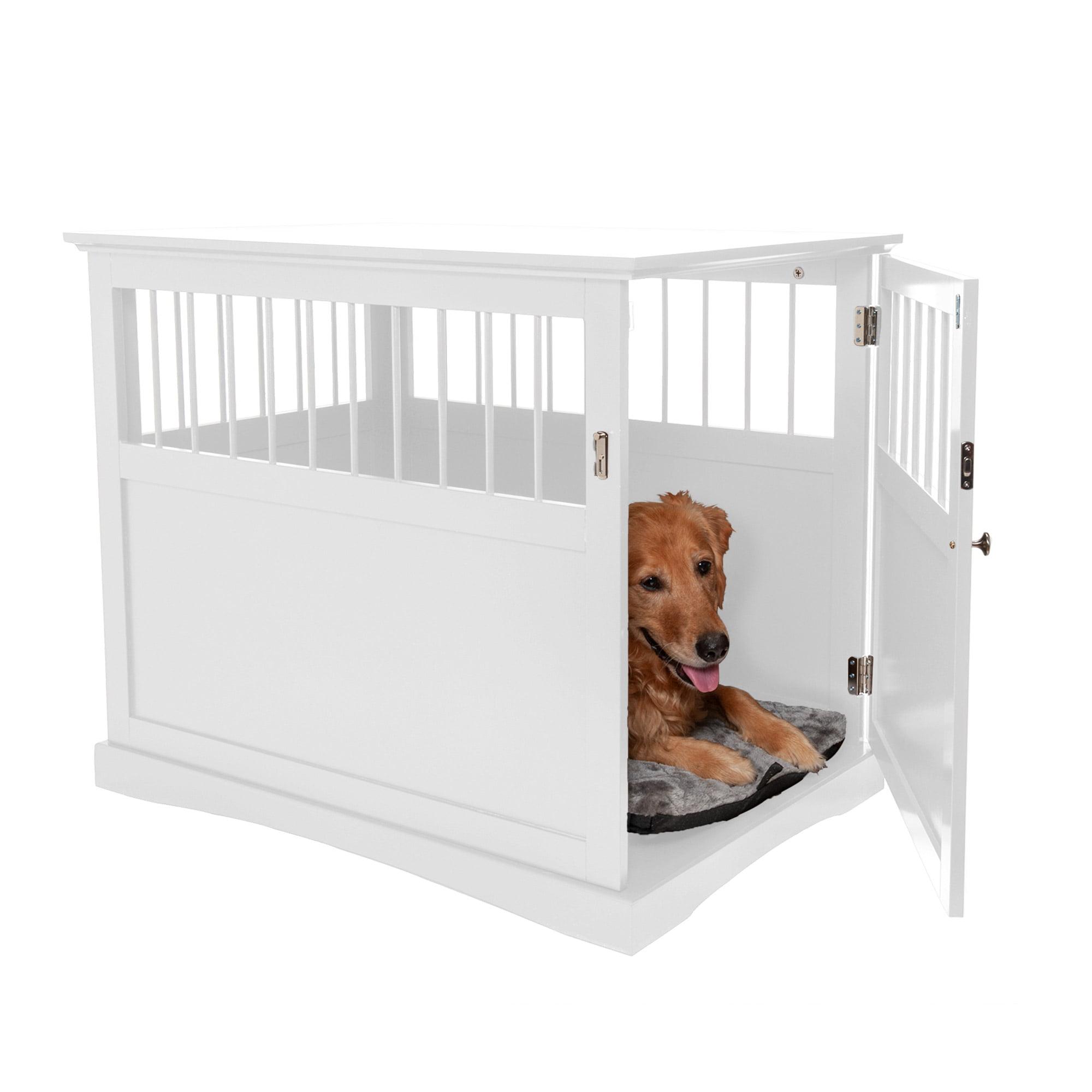 Furhaven Pet Dog Furniture End Table Dog Crate White