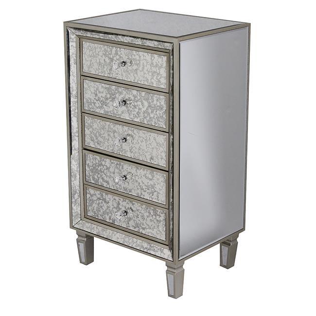 Eleganza 5-Drawer Antiqued Mirror Accent Cabinet - Champagne