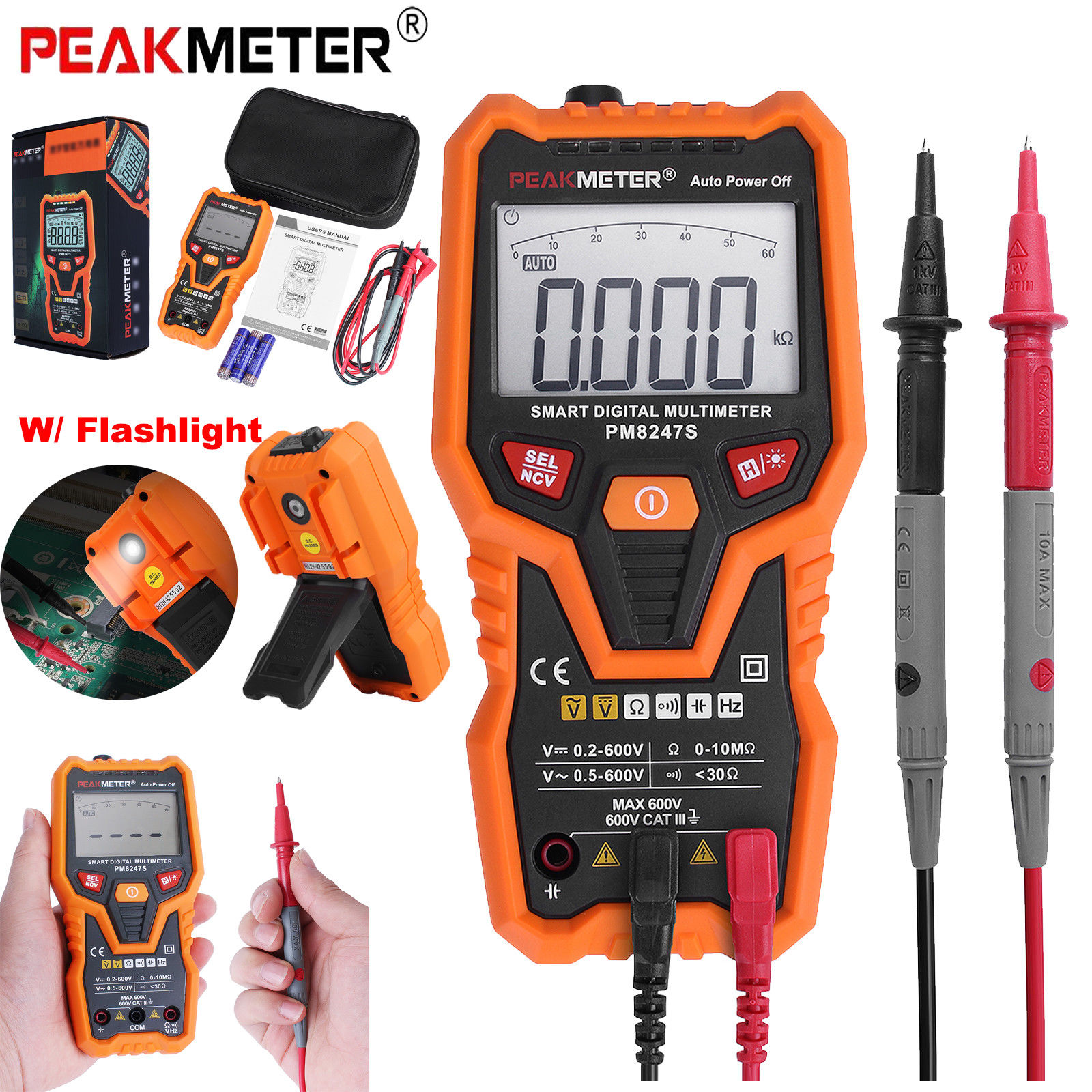 PEAKMETER PM8247S Non-contact Auto-Ranging Smart Digital Multimeter AC, DC, Volt, Current, Resistance and Capacitance Auto Power Off With Backlight Flashlight - Orange/Grey
