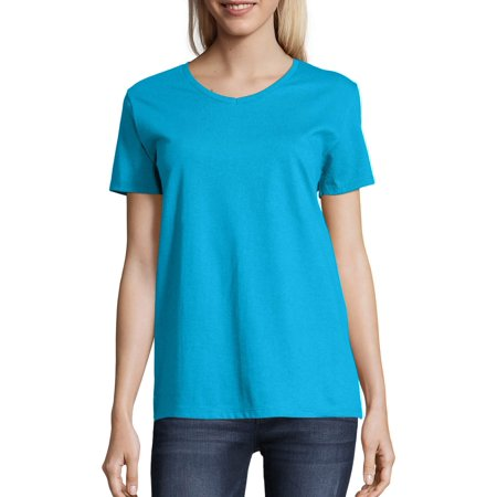 Women's Comfort Soft Short Sleeve V-neck (V-neck Longer Length T-shirt)
