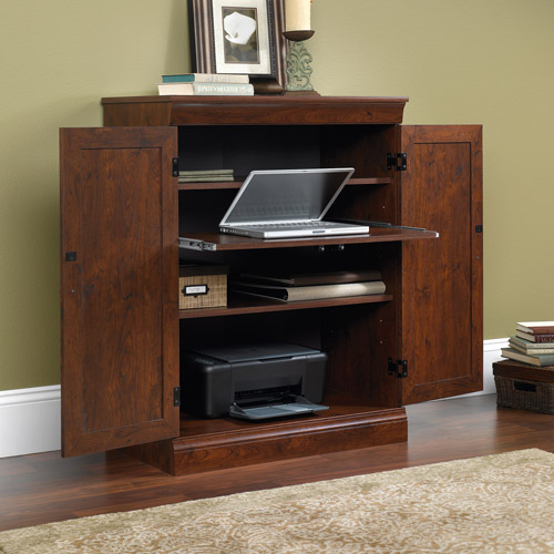 Sauder Arbor Gate Technology Cabinet and Small Laptop Armoire, Coach Cherry