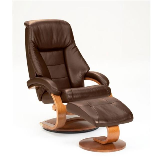 Mac Motion Oslo Espresso Top Grain Leather Swivel Recliner With Ottoman, Brown & Walnut