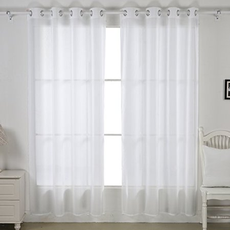 Deconovo Curtains Linen Look White Sheer Panels For Bedroom 52W X 95L 1
