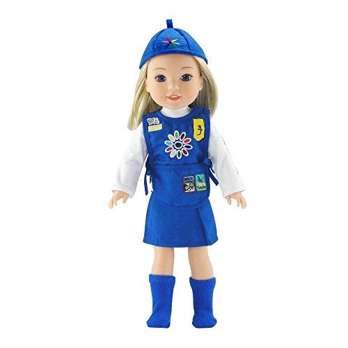14 Inch Doll Clothes | Daisy Girl Scout-Inspired Uniform, Includes Blue Skirt, T-Shirt... by Emily Rose Doll Clothes