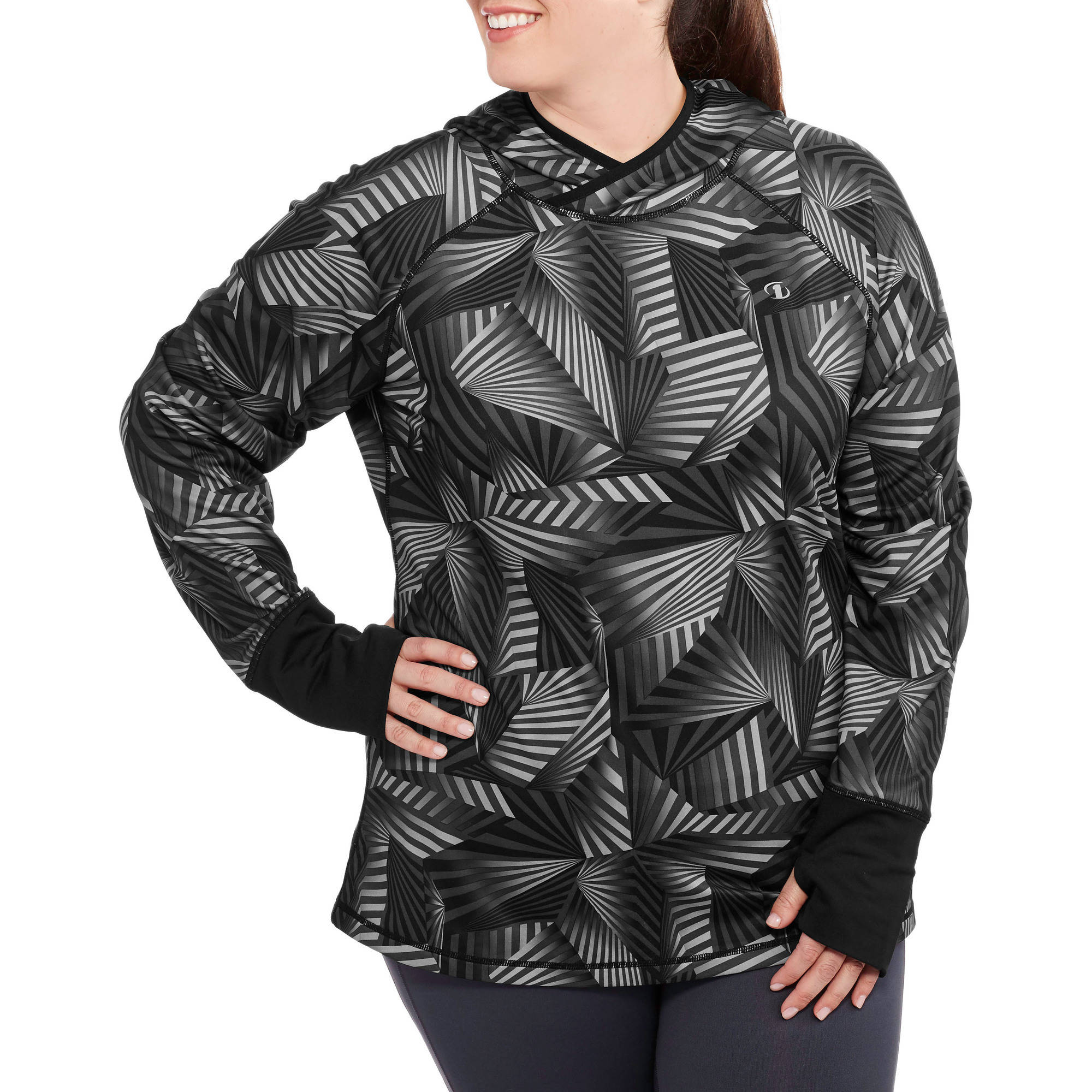 AND1 Women's Plus-Size Distance Long Sleeve Performance Top Printed