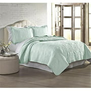 Luxury Home Embroidered Jade Quilt Set, Full - Queen - 3 Piece Set