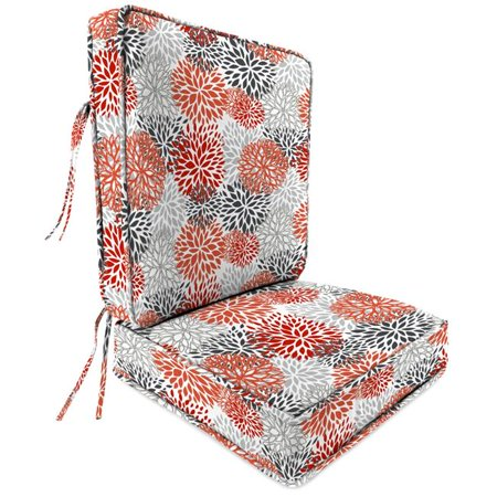 - Jordan 9746PK1-4356D Deep Seat Chair Cushion in Blooms Salmon - 2 Piece