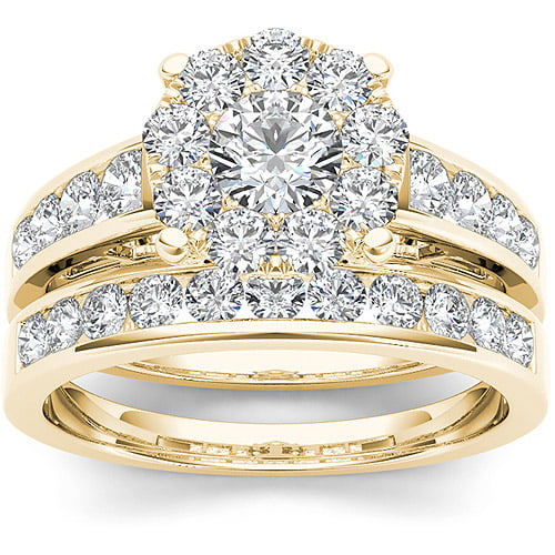 Imperial 1-1 2 Carat T.W. Diamond 10kt Yellow Gold Cluster Engagement Ring Set by Imperial Jewels