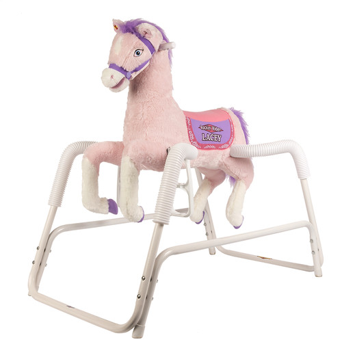 Rockin' Rider Lacey Deluxe Talking Plush Pink Spring Horse, Animated by
