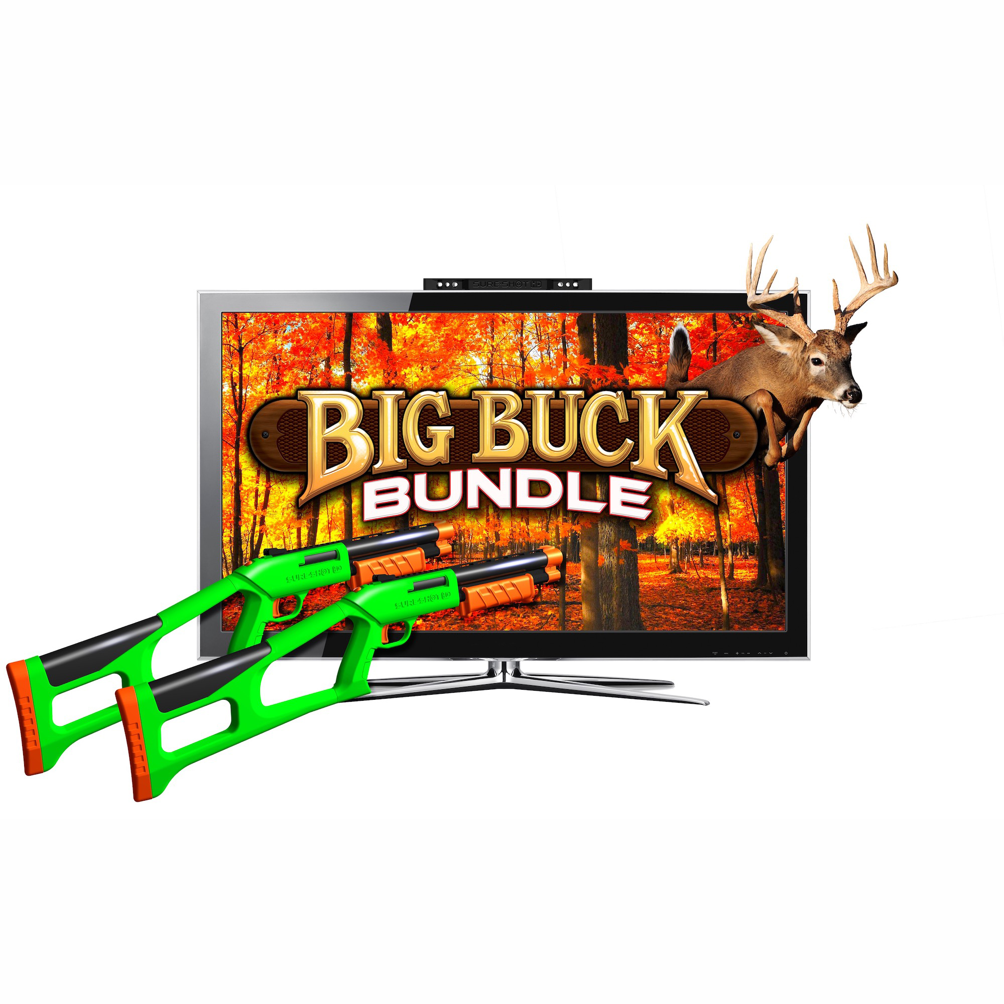 Super Happy Fun Fun Sure Shot HD Big Buck Bundle Gaming Console with 2 Games 2 Controllers