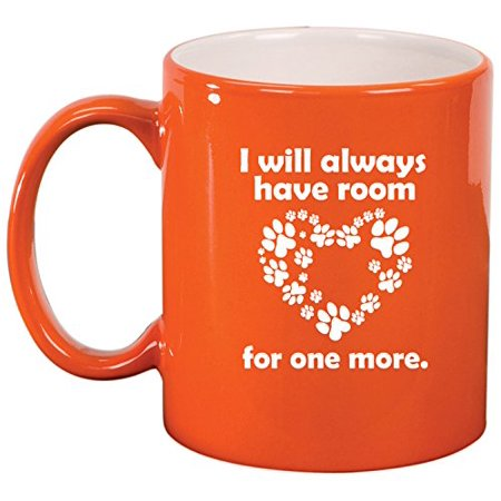 Ceramic Coffee Tea Mug Cup Room For One More Dog Cat Animal Paw Print  Orange