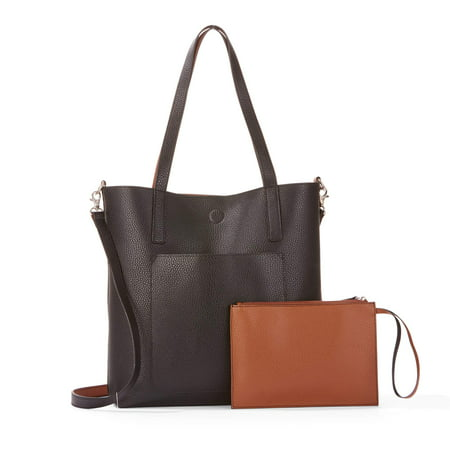 d5fc85027a Time and TRU - Time and Tru Leigh North South Reversible Tote with Pouch -  Walmart.com
