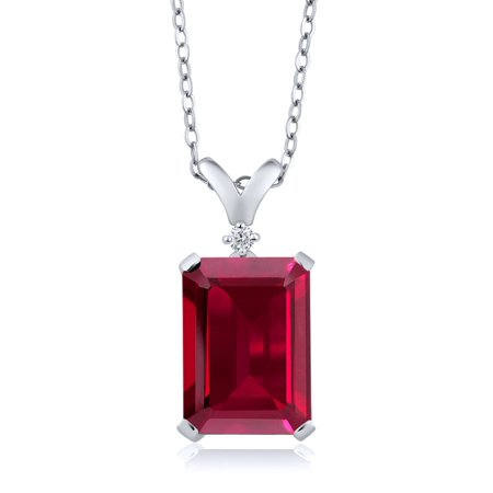 - 8.02 Ct Emerald Cut Red Created Ruby White Diamond 925 Sterling Silver Pendant