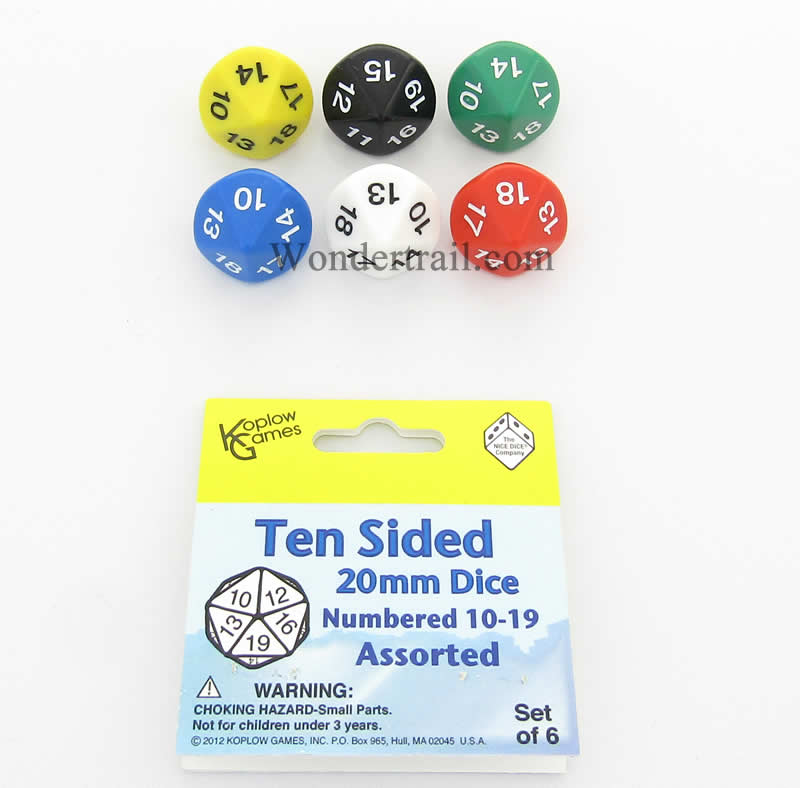 Assorted Color Dice D10 with Coloed Numbers 10-19 20mm Pack of 6 Koplow Games