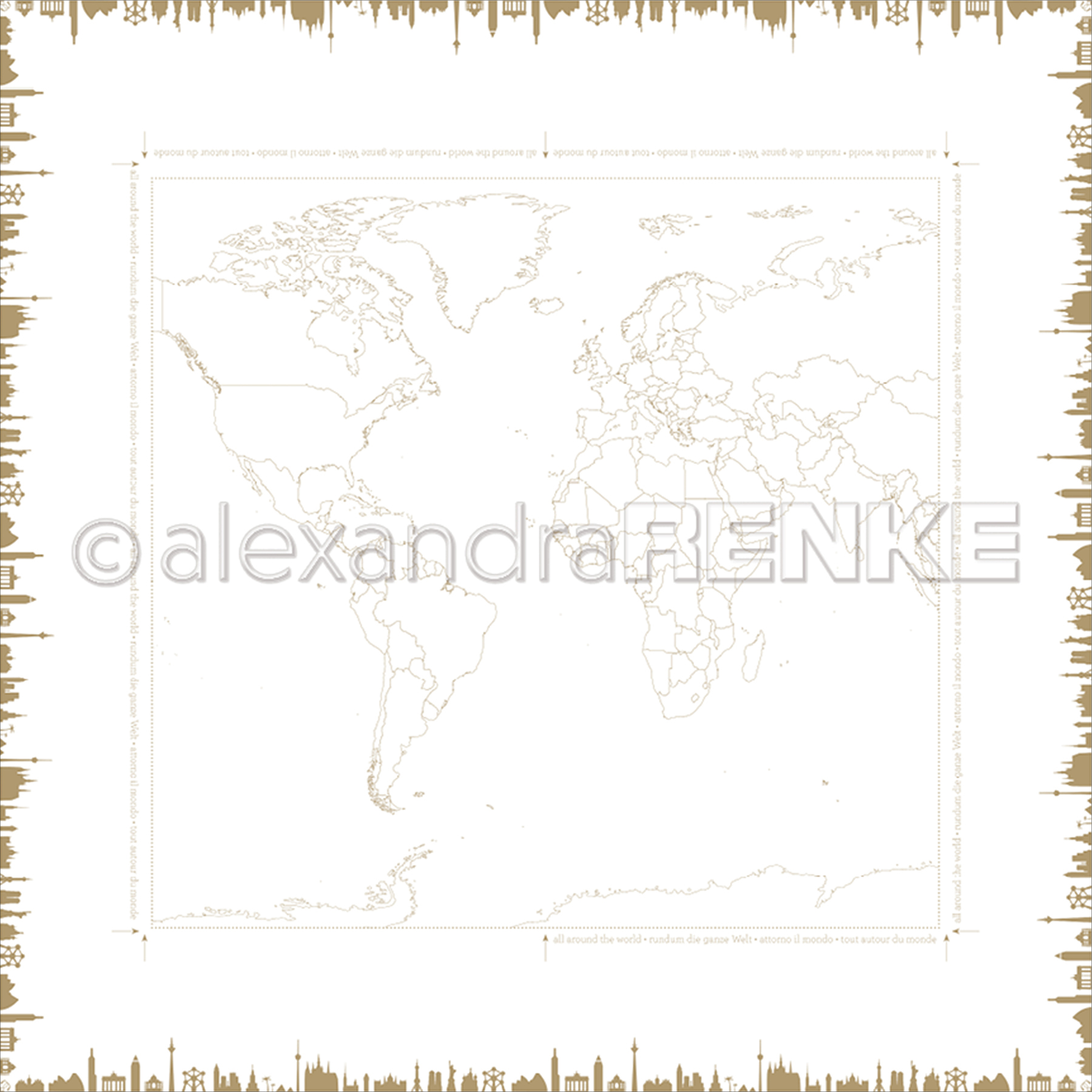 "Alexandra Renke Travel Design Paper 12""X12""-World Monuments"