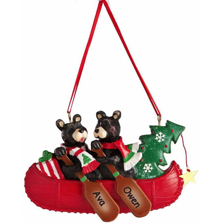 Personalized Bear Couple in Canoe Christmas Ornament