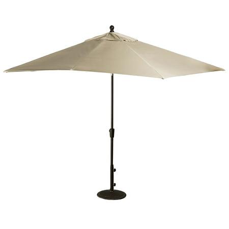 Island Umbrella Caspian 8-ft x 10-ft Rectangular Market Umbrella - Push-Button Tilt with Beige Sunbrella Canopy ()