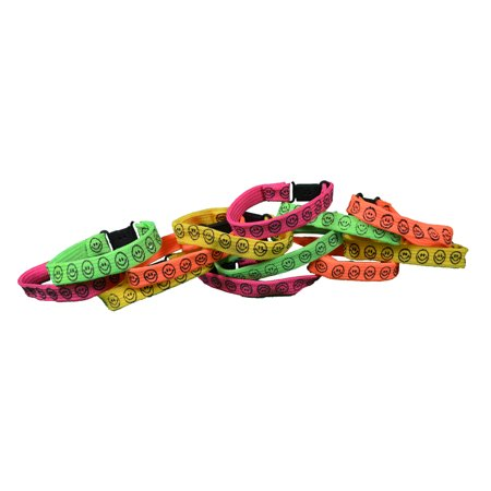 12 Smile Face Buckle Bracelets Neon Color Kids Party Favors