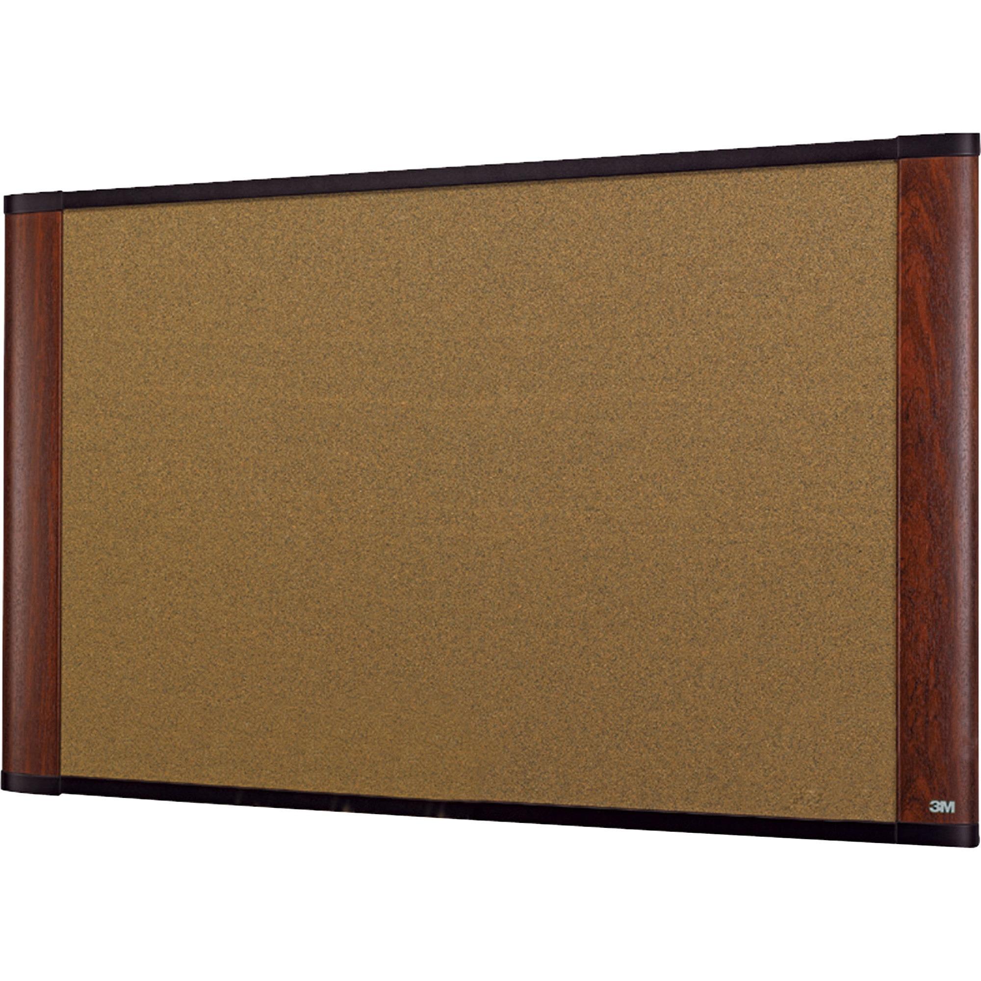 "3M Cork Bulletin Board, 72"" x 48"", Aluminum Frame w/Mahogany Wood-Grained Finish"