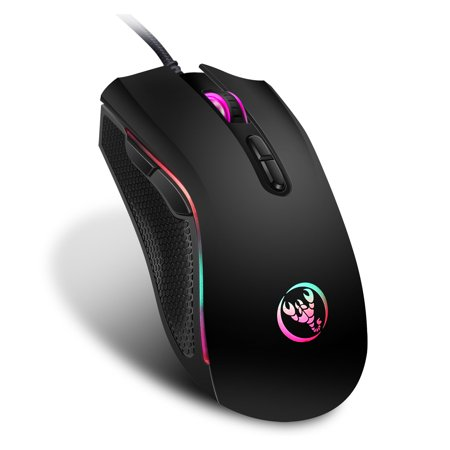 TSV Gaming Mouse Wired, 7 Buttons, RGB Backlit, 3200 DPI Adjustable, Comfortable Grip Ergonomic Optical PC Computer Gaming Mice with Fire Button ()