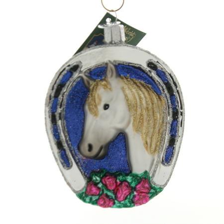 Old World Christmas WINNER Glass Ornament Horse Shoe Roses Lucky