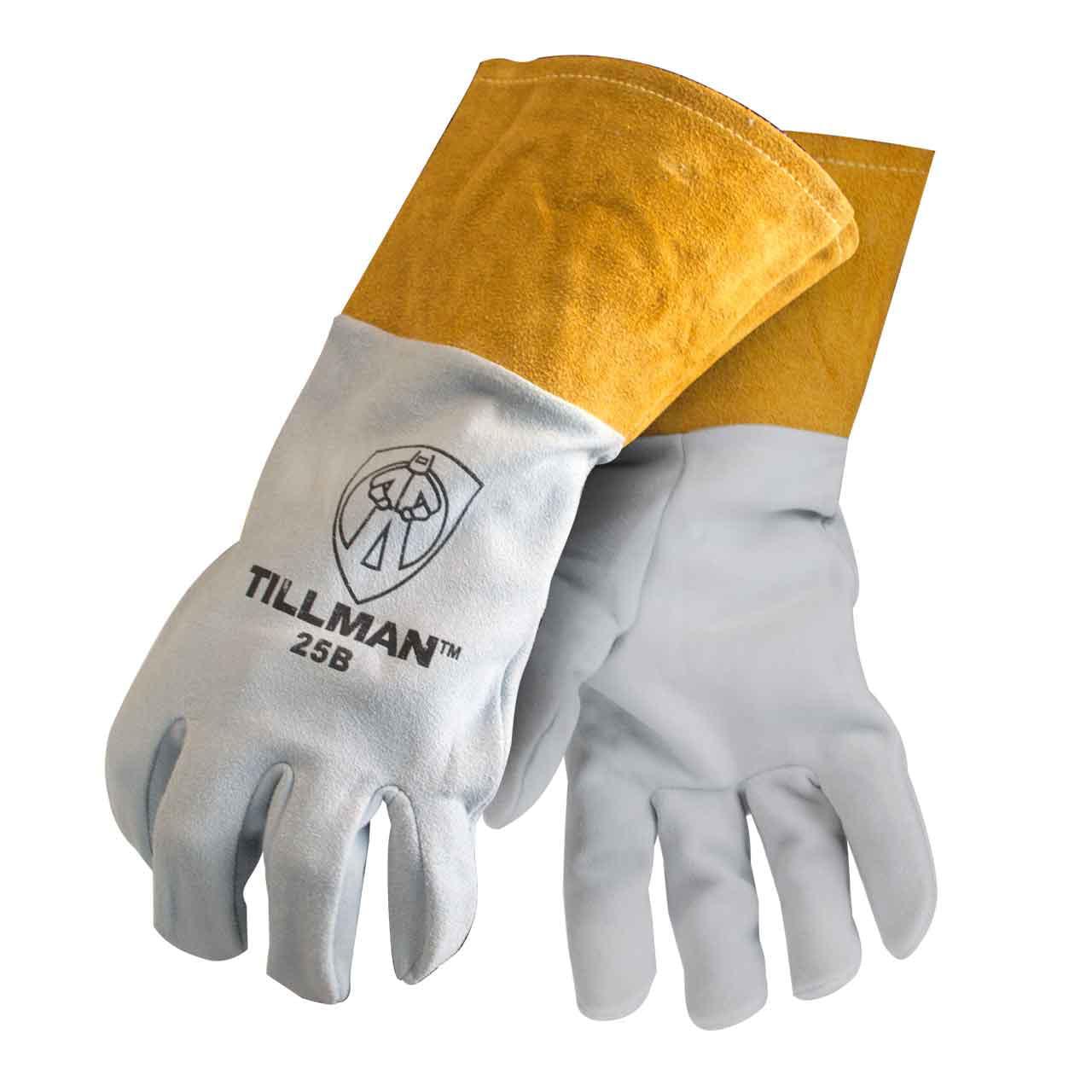 """Tillman 25B Deerskin Split Leather 4"""" Cuff TIG Welding Gloves, X-Large"""