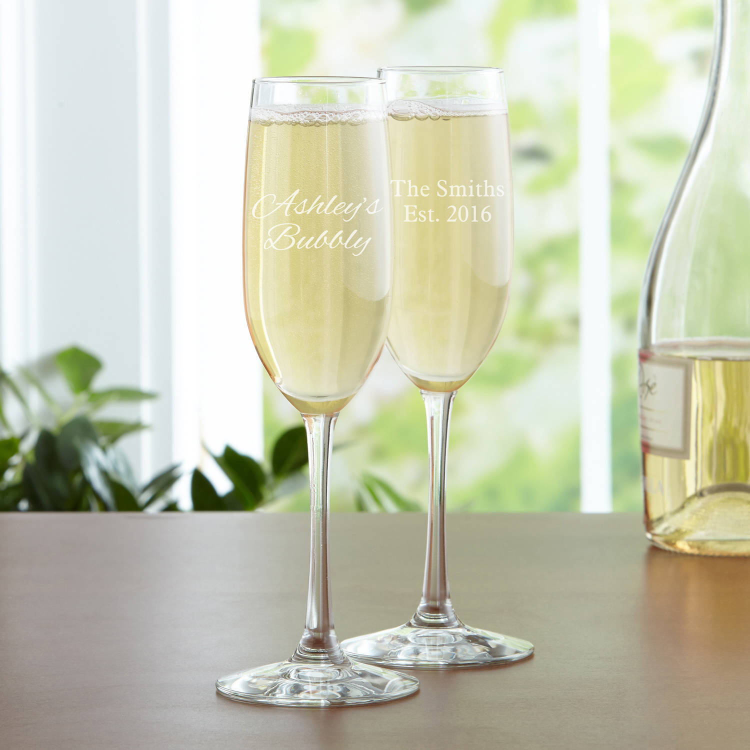 Personalized Create Your Own Champagne Flute, Choose Block or Script