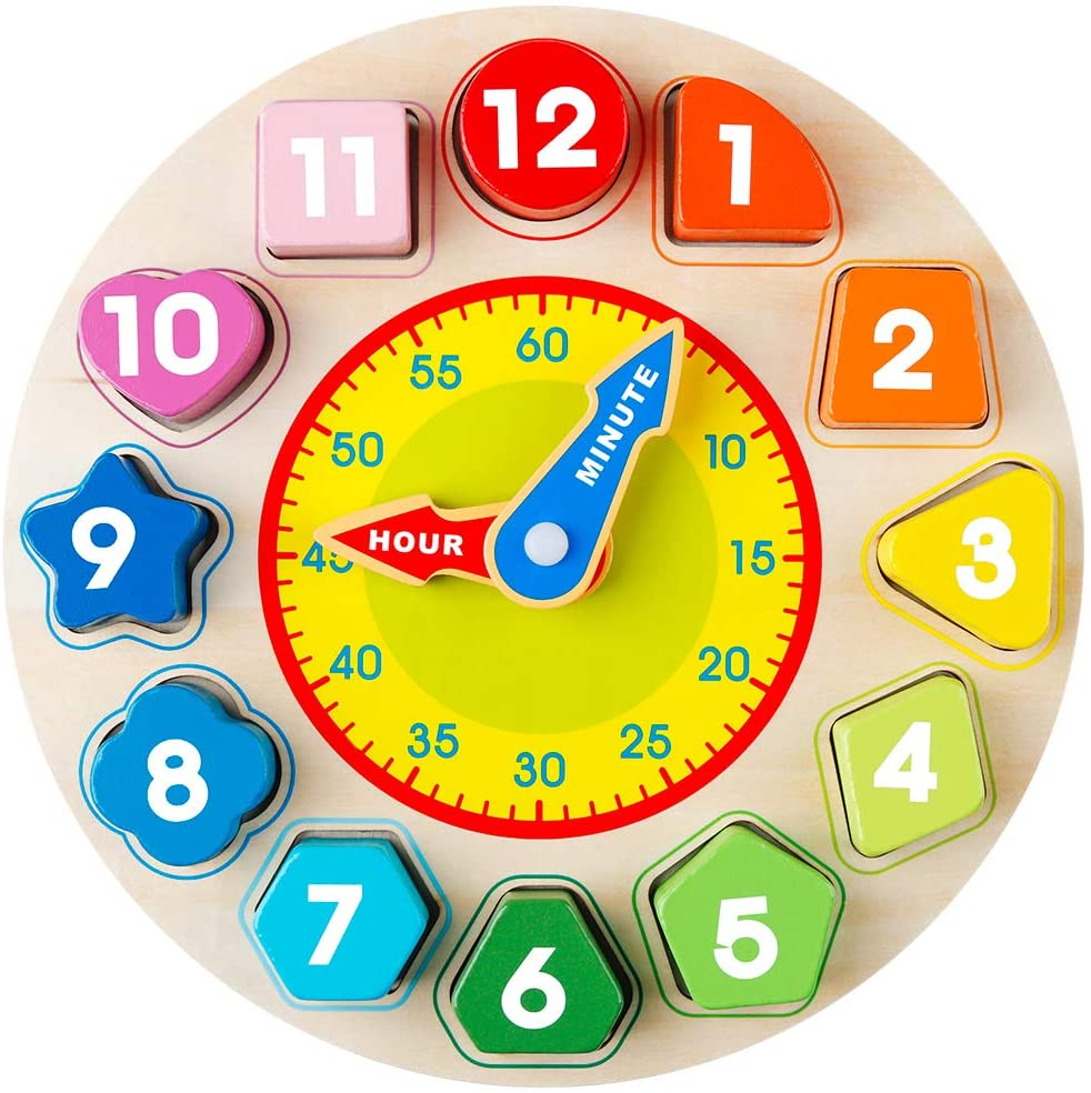 3# WFZ17 Kids Learning Educational Toy,Wooden Teaching Clock Plate Shape Number Sorting Puzzles Educational Kids Toy