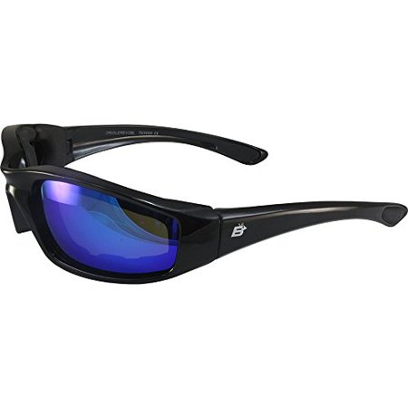 Birdz Eyewear Oriole Padded Motorcycle Riding Sunglasses Gloss Black Frames Blue G-Tech Reflective Lenses
