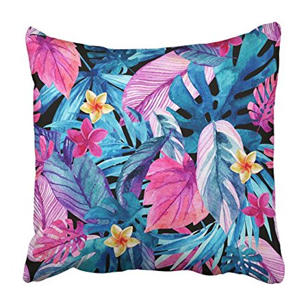 CMFUN Watercolor Exotic Leaves and Flowers Water Color Tropical Floral Painting Hand Pillowcase Cushion Cover 16x16 inch (Halloween Face Painting Flowers)