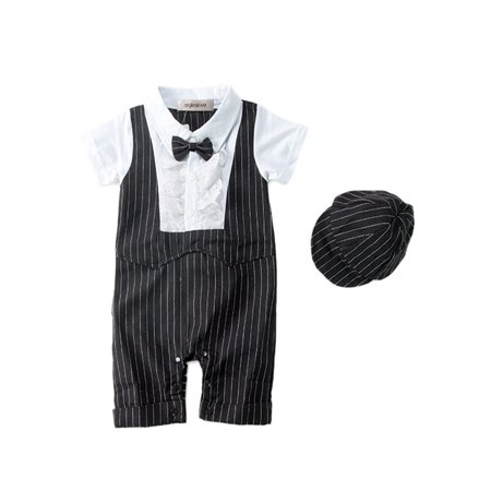 36d1e240e StylesILove - StylesILove Baby Boy Short Sleeves Ruffled Tuxedo Romper and  Hat 2-piece (6-12 Months, Black) - Walmart.com
