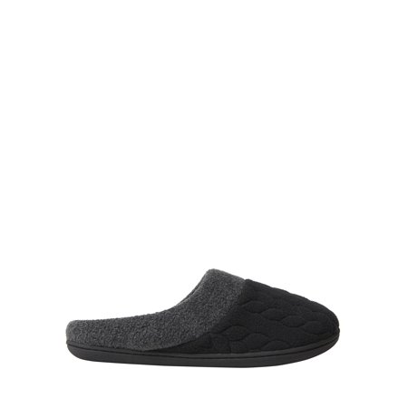 DF by Dearfoams Women's Quilted Fleece Clog (Reebok Black Slippers)