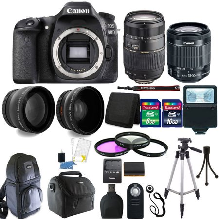 Canon EOS Rebel 80D 24.2MP DSLR Camera with 18-55mm + 70-300mm + 24GB Accessory Kit Camera Dslr Audio Kit