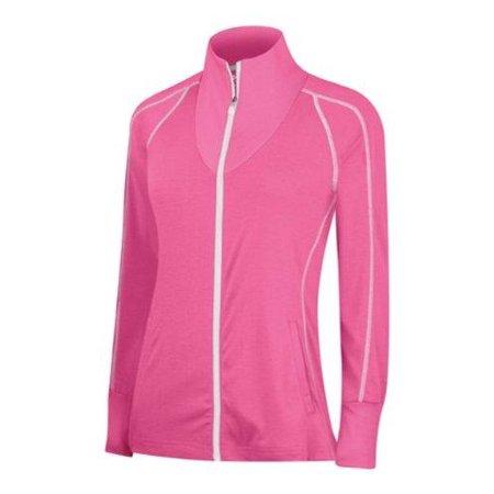 Adidas Golf Women's Contrast Stitched Full-Zip Training Top Sweatshirt Adidas Contrast Collar Jersey