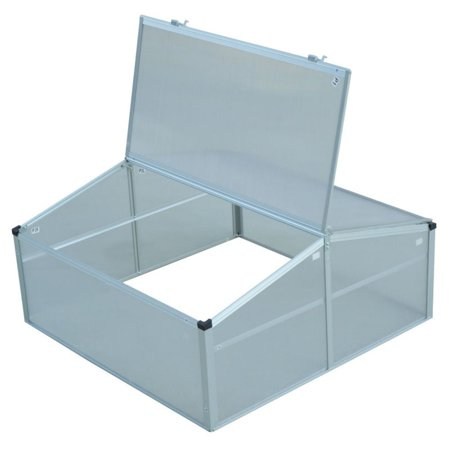 Outsunny Aluminum 39 in. Square Vented Cold Frame Greenhouse