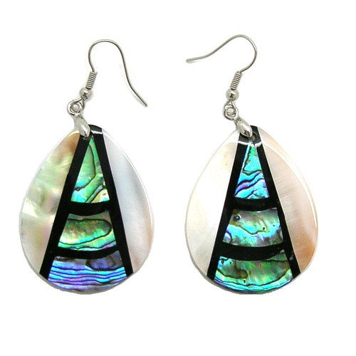 Pearlz Ocean Fashion Abalone and Shell Pearl Dangle Fashion Earrings