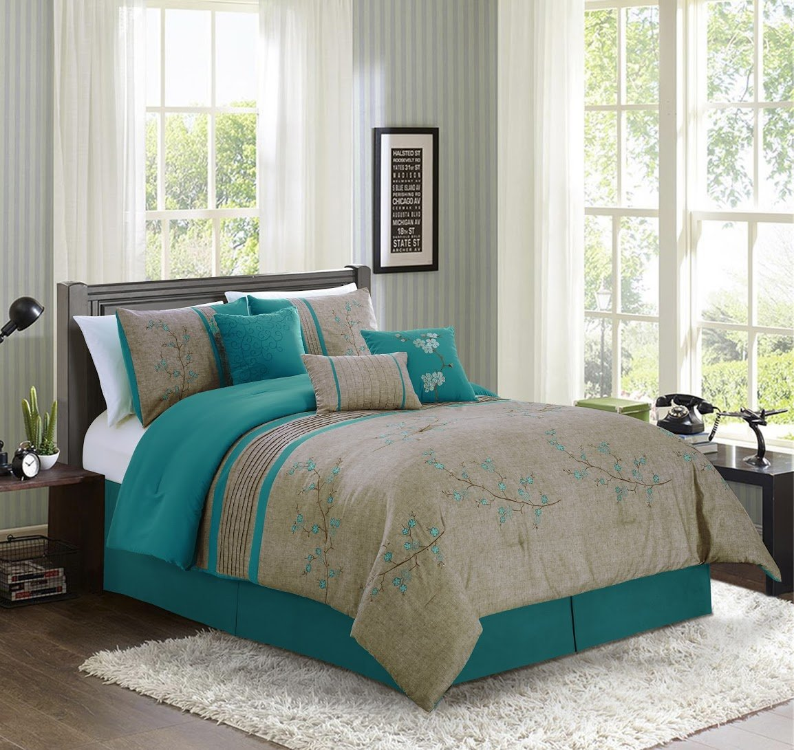 Chezmoi Collection Noriko 7-Piece Luxury Teal Cherry Blossoms Floral Embroidery Bedding Comforter Set