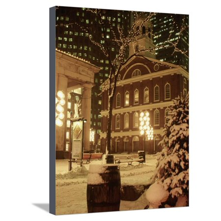 Faneuil Hall at Christmas with Snow, Boston, MA Stretched Canvas Print Wall Art By James (Faneuil Hall Location)