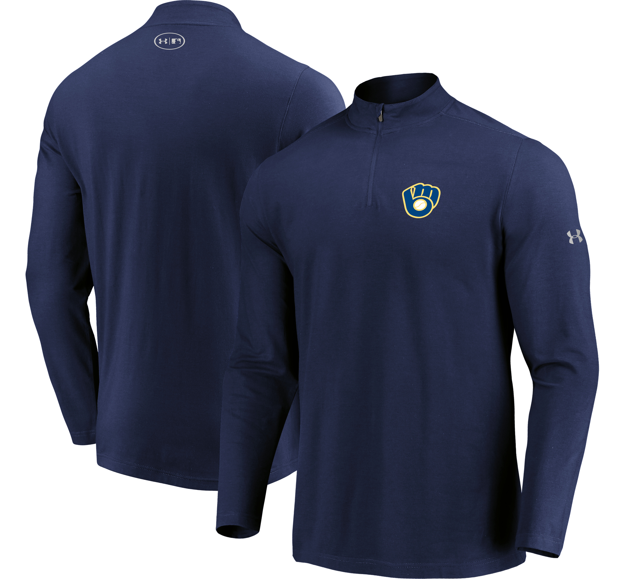 Milwaukee Brewers Under Armour Passion Performance Tri-Blend Quarter-Zip Pullover Jacket - Navy