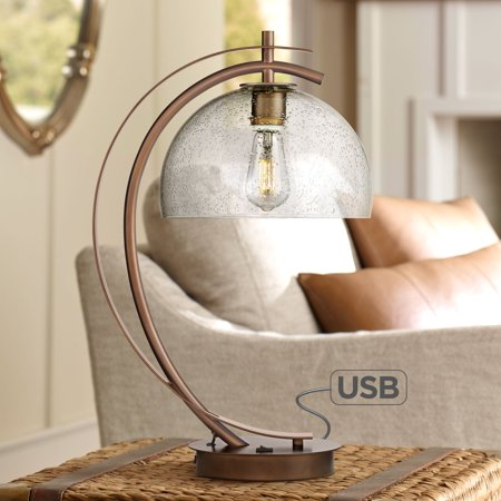 Possini Euro Design Modern Accent Table Lamp with USB Port Filament LED Bronze Metal Glass Dome Shade for Living Room Bedroom