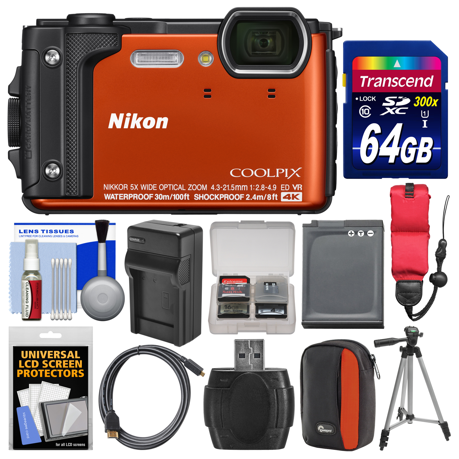 Nikon Coolpix W300 4K Wi-Fi Shock & Waterproof Digital Camera (Orange) with 64GB Card + Case + Battery & Charger + Tripod + Float Strap + Kit