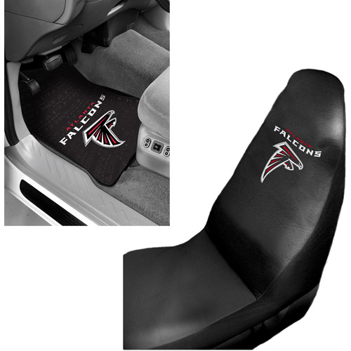 NFL Atlanta Falcons 2 pc Front Floor Mats and Atlanta Falcons Car Seat Cover Value Bundle