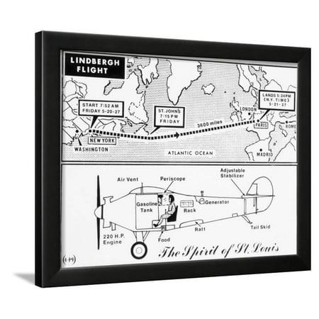Map and Diagram of Lindbergh's Trans-Atlantic Flight Framed Print