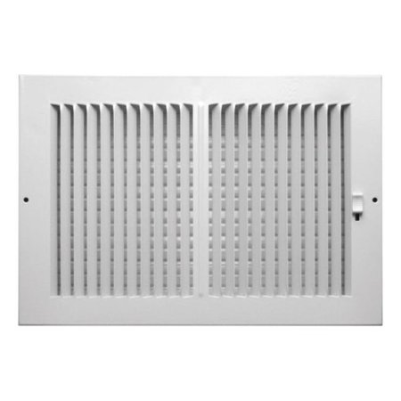 C102M12X08 2 x 08 in. 2 Way Supply Sidewall or Ceiling Register Grille  White (Ceiling Register Grille)