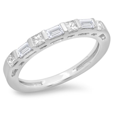 Dazzlingrock Collection 0.60 Carat (ctw) 14K Princess & Baguette Diamond Ladies Wedding Stackable Band, White Gold, Size 5