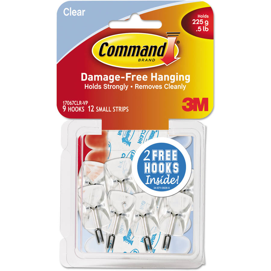 Command Small Wire Hooks Value Pack, Clear, 9 Hooks, 12 Strips/Pack