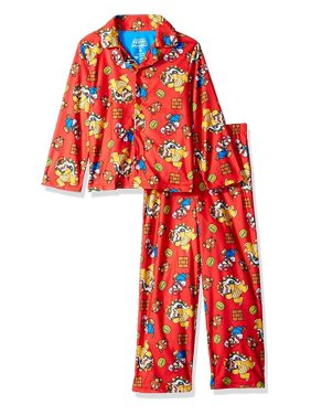 Mario Kart Boys Pajama Coat Top and Lounge Pants 2 Piece Sleepwear Set, Mario_Red, Size: 8