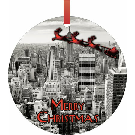 Santa and Sleigh Riding Over New York City - Rosie Parker Inc. TM - Double-Sided Round-Shaped Flat Aluminum Christmas Holiday Hanging Ornament Made in the USA! Santas New Sleigh
