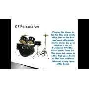 New! GP Percussion GP55BK 5-Piece Complete Junior Drum Set For Kids, Black