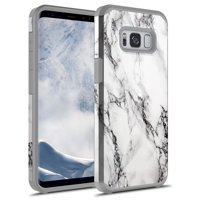 Galaxy S8 Plus Case, KAESAR Hybrid Dual Layer Shockproof Hard Cover Graphic Fashion Cute Colorful Silicone Skin Case for Samsung Galaxy S8 Plus - White Marble